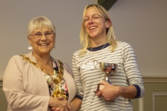Mayor Judy Rose presents the Novice Cup to Sian Sims (West Wilts BKA) at the Wiltshire Bee & Honey Day 2019