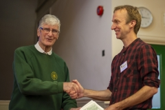 WBKA President Alan Stonell presents the Basic Certificate in Beekeeping to  Patrick Randall (Kennet BKA) at the Wiltshire Bee & Honey Day 2019