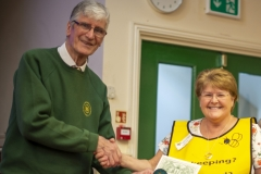 WBKA President Alan Stonell presents the Basic Certificate in Beekeeping to Elaine Lewis (Kennet BKA) at the Wiltshire Bee & Honey Day 2019
