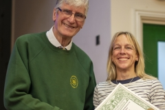 WBKA President Alan Stonell presents the Basic Certificate in Beekeeping to Sian Sims (West Wilts BKA) at the Wiltshire Bee & Honey Day 2019