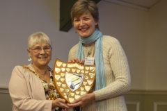 Mayor Judy Rose presents Sophie Butcher (Kennet BKA) with the King Shield for the individual with best jar of honey in the honey show at the Wiltshire Bee & Honey Day 2019