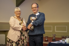 Mayor Judy Rose presents Chris Rawlings (West Wilts BKA) with the Methuen Cup for the individual with the most points in the honey show at the Wiltshire Bee & Honey Day 2019